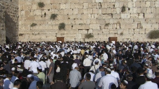 JJ_023 - Jewish sites in Jerusalem: Jewish worshipers praying at the Western Wall