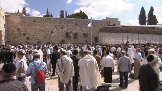 JJ_035 - Jewish sites in Jerusalem: Jews praying in synagogue adjacent to the Western Wall