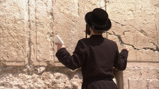 JJ_021 - Jewish sites in Jerusalem: Close up of an Orthodox Jewish worshiper at the Western Wall