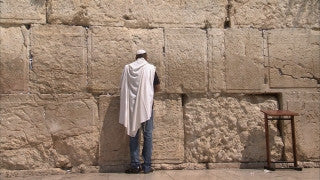 JJ_022 - Jewish sites in Jerusalem: Close up of a Jewish worshiper at the Western Wall