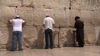 JJ_024 - Jewish sites in Jerusalem: Jewish worshipers praying at the Western Wall
