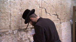 JJ_025 - Jewish sites in Jerusalem: Close up of Orthodox Jewish worshiper at the Western Wall