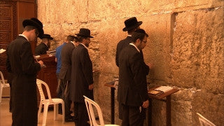 JJ_032 - Jewish sites in Jerusalem: Orthodox Jews praying next to the Western Wall