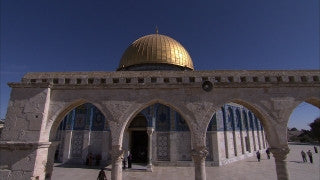 JM_043 - Muslim sites in Jerusalem: Al Aqsa Mosque, pan right over worshipers