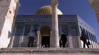 JM_038 - Muslim sites in Jerusalem: Al Aqsa, medium shot men praying in mosque entrance