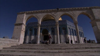 JM_036 - Muslim sites in Jerusalem: Dome of the Rock, indoor pan right on worshipers and columns