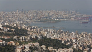 LB 003 International stock footage: Beirut skyline from the north east.