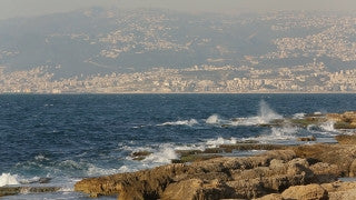 LB 010 International stock footage: Beirut - Sea shore with long shot of the city and mountains