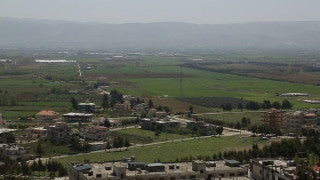 LB 014 International stock footage: Beirut, Lebanon - Countryside with Chouf mountains in the background.