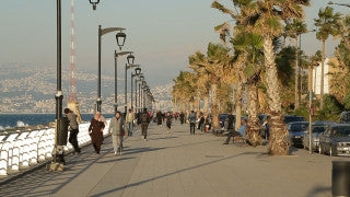 LB 017 International stock footage: Beirut, Lebanon - coast promenade