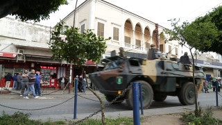 LB 022 International stock footage: Beirut, Lebanon: military vehicles crossing through city center