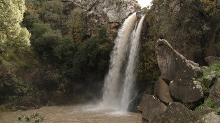 LN_008 Israel Nature and Landscape footage: Iyon (Tanur) Stream - waterfall in the Galilee Mountains
