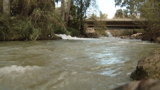 LN_022 Israel Nature and Landscape footage: Low angle Jordan River with a strong winter stream