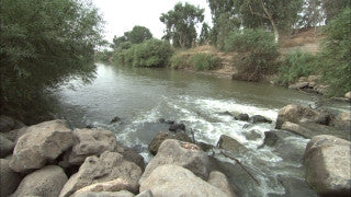 LN_023 Israel Nature and Landscape footage: Jordan River with a slow summer stream