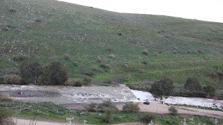 LN_030 Israel Nature and Landscape footage: Jordan River, two military helicopters cross frame