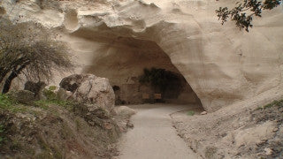 LN_039 Israel Nature and Landscape footage: Beit Guvrin, Maresha Park - entrance to bell caves