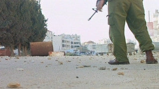 M2_005 Israel military footage: 2nd Intifada - Palestinian demonstrators against Israeli soldiers in A-Ram near Jerusalem