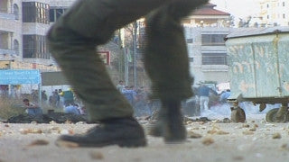 M2_033 Israel military footage: 2nd Intifada - Fire exchange in Bethlehem at night, April 2002