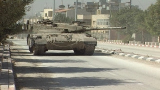 M2_013 Israel military footage: 2nd Intifada - Operation Defensive Shield: Israeli tanks in Ramallah April 2002