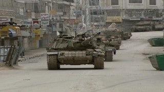 M2_017 Israel military footage: 2nd Intifada - Operation Defensive Shield: Israeli tanks in Ramallah April 2002