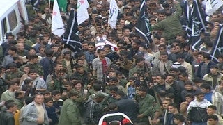 M2_026 Israel military footage: 2nd Intifada - funeral / demonstration in Ramallah, April 2002