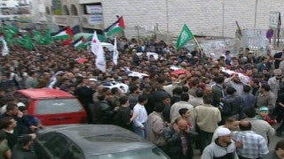 M2_028 Israel military footage: 2nd Intifada - funeral / demonstration in Ramallah, April 2002