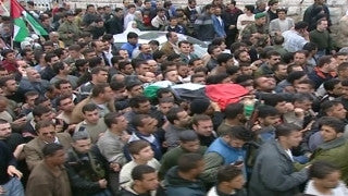 M2_029 Israel military footage: 2nd Intifada - funeral / demonstration in Ramallah, April 2002
