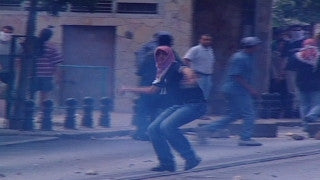 M2_040 Israel military footage: 2nd Intifada - Israeli-Arab demonstration in Um-Al-Fahm, October 2000