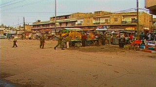 MG_009 Israel military footage: Gaza stock footage - IDF soldiers make arrests in a Gaza market, demonstrators throw stones, 1998