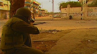 MG_011 Israel military footage: Gaza stock footage - Israeli soldiers aim at Palestinian kids who throw stones at them, 1998