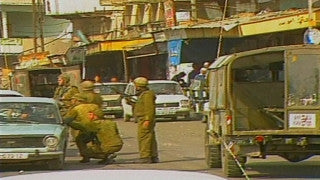 MG_013 Israel military footage: Gaza stock footage - Israeli soldiers patrol the Gaza streets searching cars, 1998