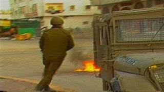 MG_022 Israel military footage: Gaza stock footage - Israeli soldiers fire at Palestinian demonstrators in reaction to a Molotov cocktail, 1998