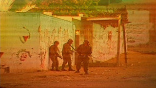 MG_023 Israel military footage: Gaza stock footage - Israeli soldiers take cover behind a wall, throw stunt grenade, 1998