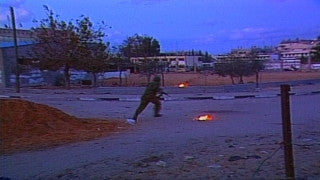 MG_025 Israel military footage: Gaza stock footage - Israeli soldiers open fire and throw stunt grenades at Palestinian demonstrators, 2000