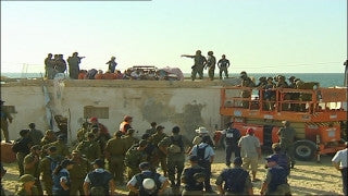 MG_070 Israel military footage: Gaza Disengagement August 2005 - Policemen and soldiers against settlers in Katif settlements