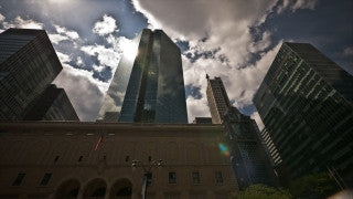 NY T4K 002 New York City 4K Time Lapse Footage: Manhattan - low angle buildings and moving clouds