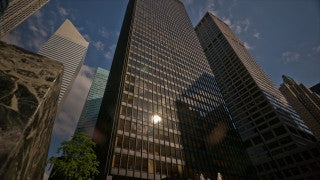 NY T4K 008 New York City 4K Time Lapse Footage: Slider low angle shot of buildings and clouds in midtown Manhattan