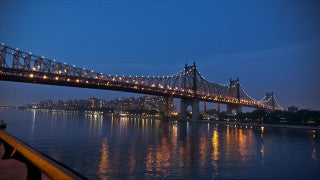 NY T4K 011 New York City 4K Time Lapse Footage: Slider shot of 59th St. Bridge at sunset, Roosevelt Island in the background