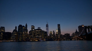 NY T4K 012 New York City 4K Time Lapse Footage: Slider shot of sunset over Lower Manhattan