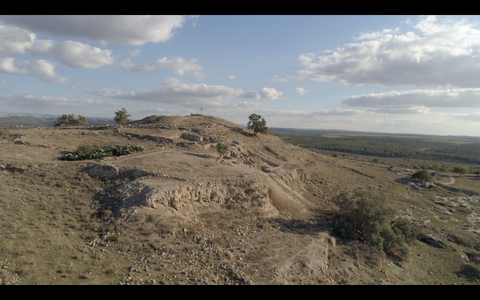DN4K 020 G Israel stock footage: 4K drone aerial footage of Beit She'an archaeological park