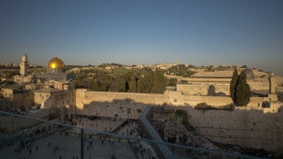 T4K_065 4K time lapse Israel: moving shot of the Old City of Jerusalem at sunrise