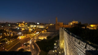 T4K_063 4K time lapse Israel: moving shot of Jerusalem through window bars