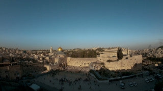 T4K_004 4K time lapse Israel: slider reveals Jerusalem Old City walls at sunset