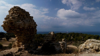 T4K_059 4K time lapse Israel: Mediterranean sea with clouds filmed in an archeological site