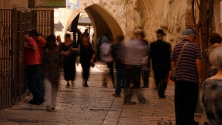 TJ_009 Time Lapse Israel: Jerusalem - people in an Old City alley