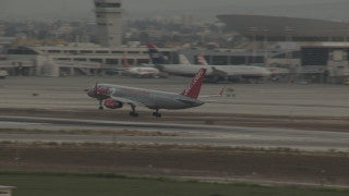 TR_011 Transportation in Israel: A jet2 airplane landing in Tel Aviv Ben Gurion Airport