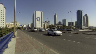 TR_018 Transportation in Israel: Fast motion car traffic on Tel Aviv bridge over highway