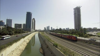 TR_021 Transportation in Israel: Cars and train on Ayalon Highway, Tel Aviv