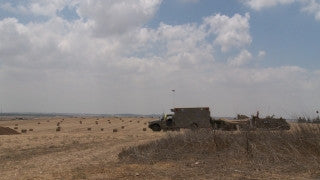 TZE_003 Israel military footage: Gaza War 2014 Operation Protective Edge - IDF positions near Gaza border