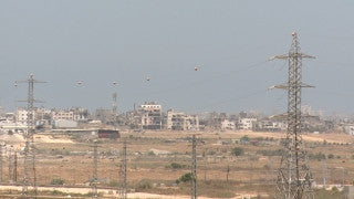 TZE_026 Israel military footage: Gaza War 2014 Operation Protective Edge - view of Gaza from Israel positions